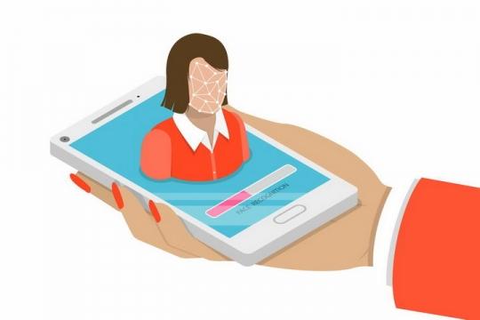 扁平插画风格智能手机人脸识别功能png图片免抠矢量素材