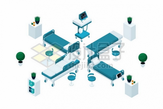 4个不同角度的2.5D风格医院病床649886png矢量图片素材