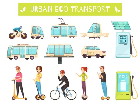 卡通风格电车充电桩平衡车自行车等绿色交通工具图片免抠矢量素材