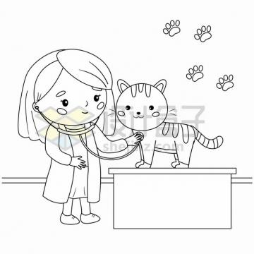 宠物医生检查猫咪身体健康手绘线条插画png图片素材