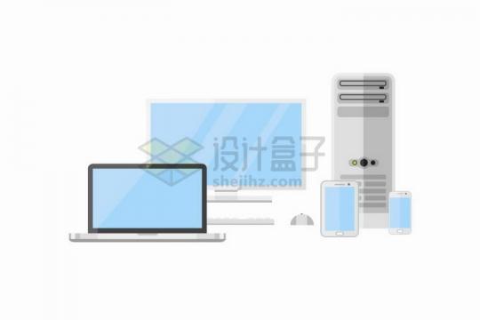 扁平化风格笔记本电脑台式机显示器和机箱以及平板电脑与手机png图片免抠矢量素材