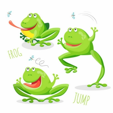 正在捉虫子的卡通青蛙吃蚊子png图片免抠矢量素材