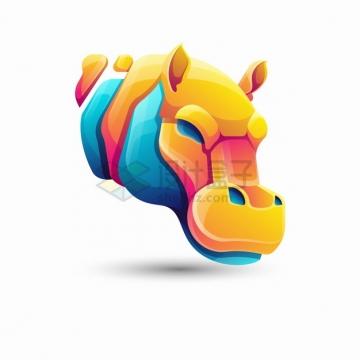 多彩色块组成的河马logo设计png图片素材