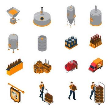 16款2.5D效果工厂里生产的工人劳动场景和设备图片免扣素材