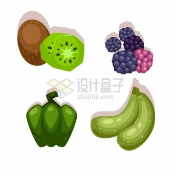 卡通猕猴桃树莓辣椒黄瓜美味水果蔬菜png图片免抠矢量素材