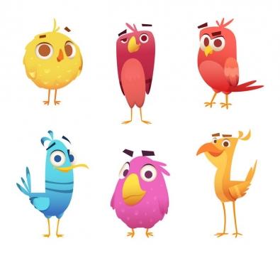 6种愤怒的小鸟中的卡通鸟儿图片免抠矢量素材