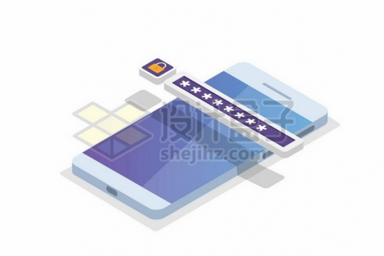 2.5D风格手机上的密码482127png矢量图片素材