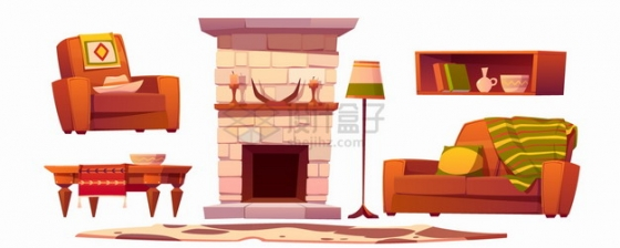 卡通壁炉沙发餐桌等复古装修风格png图片素材