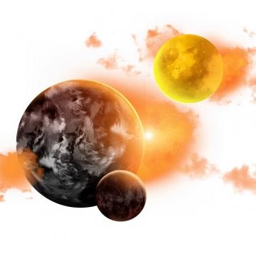 发出黄色光芒的外星球186310png图片素材