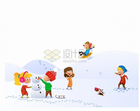 冬天在雪地上打雪仗堆雪人的卡通儿童png图片素材