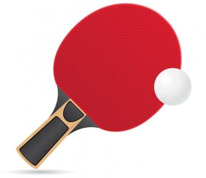 红色的乒乓球拍和乒乓球体育运动免抠矢量图片素材