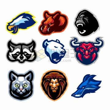 9款卡通老鹰野猪猩猩小浣熊北极熊公牛猫咪狮子野狼动物头像logo设计png图片免抠矢量素材
