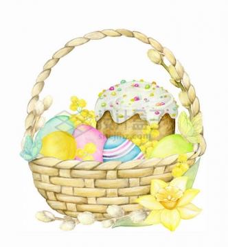 竹篮中的彩蛋和鲜花水彩画彩绘png图片免抠矢量素材