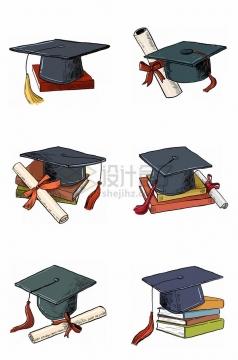 6款手绘风格博士帽学士帽大学毕业季png图片免抠素材