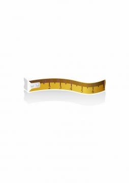 一小段弯曲的黄色卷尺皮尺测量工具png图片免抠矢量素材