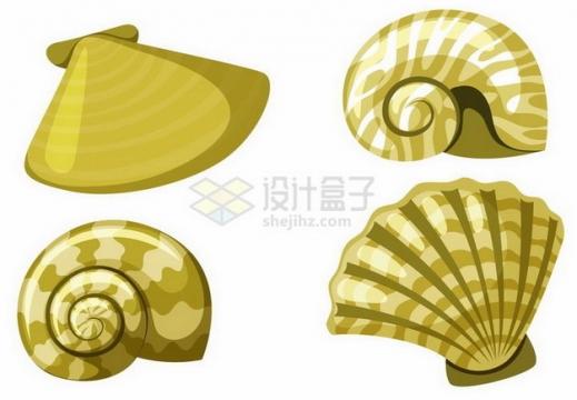 插画风格4款贝壳海螺png图片免抠矢量素材
