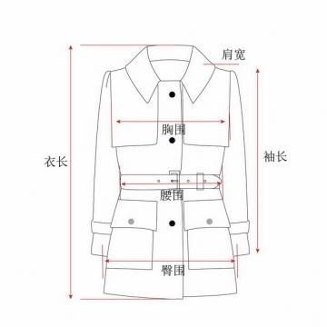 衣长肩宽胸围腰围臀围袖长等女装尺码对照表655739图片素材