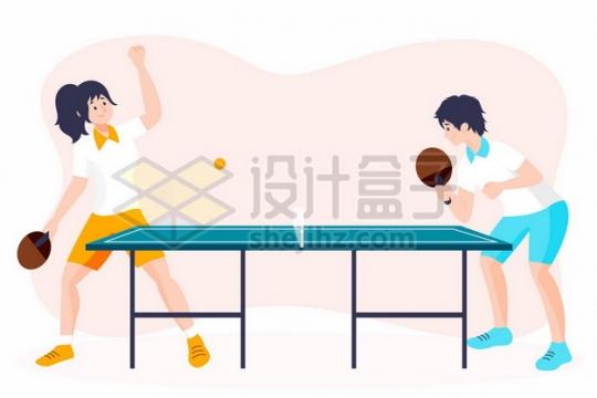 打乒乓球的年轻人扁平插画301591png矢量图片素材
