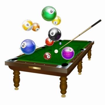 逼真的台球桌和飞舞的台球png图片免抠矢量素材