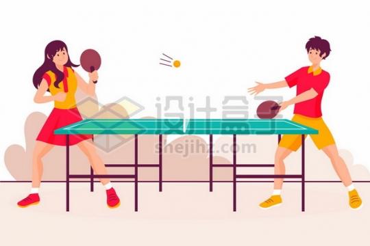 打乒乓球的年轻人扁平插画560144png矢量图片素材