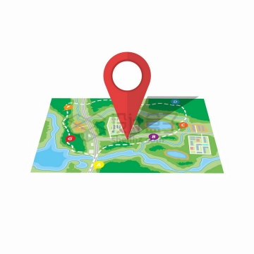 展开的旅游地图和大大的红色定位标志png图片免抠矢量素材