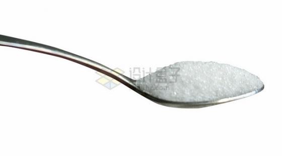 不锈钢勺子上的食用盐png图片素材