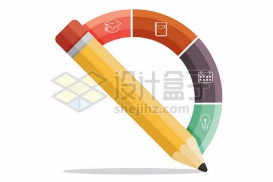 黄色铅笔PPT信息图表225370png矢量图片素材