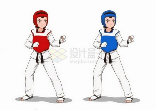 身穿红色和蓝色服装的卡通跆拳道女孩png图片免抠矢量素材