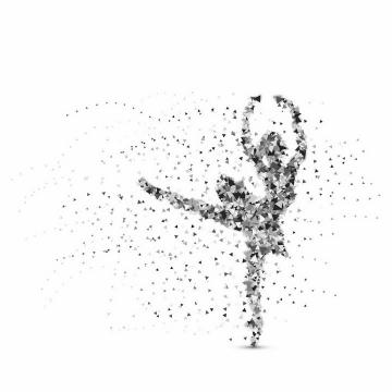 灰色三角形组成的正在跳芭蕾舞的美女png图片免抠矢量素材