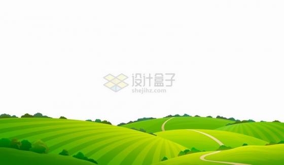 卡通绿色的田野青青草原风景图png图片免抠矢量素材