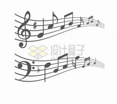 两款音符五线谱音乐元素png图片素材