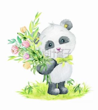 卡通熊猫抱着鲜花站在草地上水彩画彩绘png图片免抠矢量素材