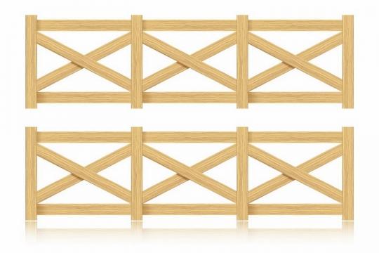 X形的木栅栏木围栏png图片免抠矢量素材