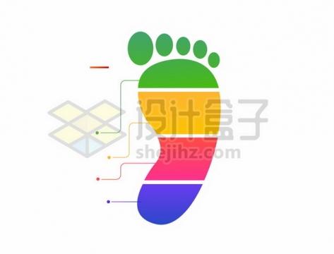 彩色小脚丫PPT信息图表811163png矢量图片素材