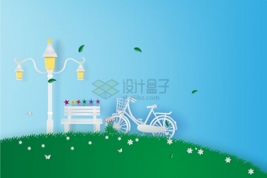 创意剪纸叠加风格青草地上的复古路灯长椅和自行车png图片免抠矢量素材