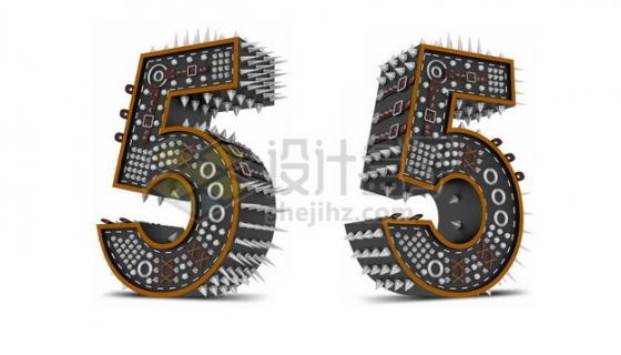 C4D风格尖刺黑色3D立体数字五5艺术字体510488psd/png图片素材