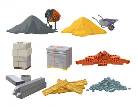建筑工地混凝土黄沙搅拌机红砖等建筑材料图片免抠素材
