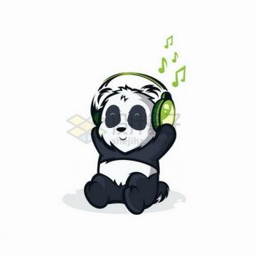戴着耳机听音乐的卡通熊猫png图片免抠矢量素材