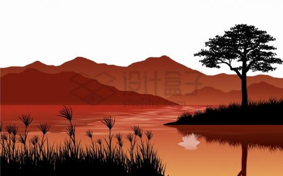 大树草地湖泊和远处的高山风景红色剪影插画png图片素材