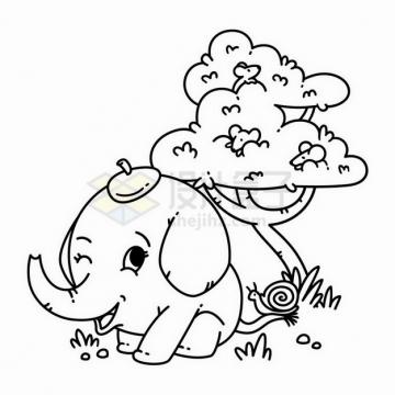 卡通大树下面的小象线条简笔画png图片免抠矢量素材