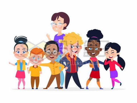 卡通老师和她的学生们png图片免抠矢量素材