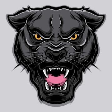 手绘风格卡通黑豹猛兽头像图片免抠素材