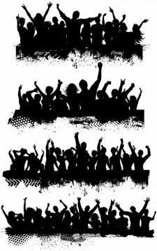 4款聚会音乐节演唱会上欢呼雀跃的年轻人人群剪影png图片免抠矢量素材