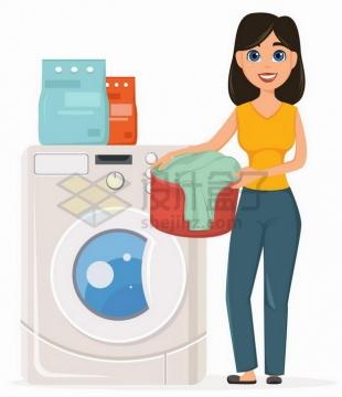 卡通女人正在用洗衣机洗衣服409812png矢量图片素材