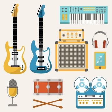 各种扁平化风格吉他电子琴等乐器音乐器材图片免抠素材