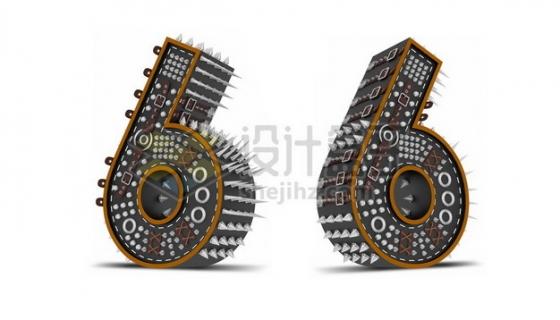 C4D风格尖刺黑色3D立体数字六6艺术字体379560psd/png图片素材
