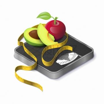 体重秤上的卷尺苹果和牛油果减肥png图片素材