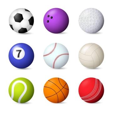 9款足球保龄球台球网球篮球等球类图片免抠素材