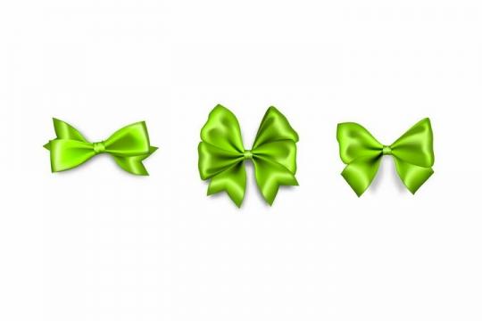 3款绿色的蝴蝶结png图片免抠矢量素材