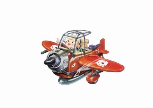 驾驶红色卡通飞机的飞行员彩绘插画png图片免抠eps矢量素材